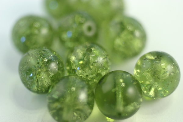 10pc 10mm OLIVINE GREEN CRACKLE CZECH GLASS BEADS