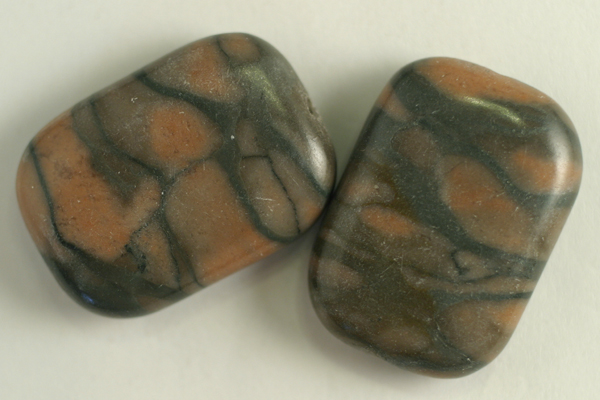 2pc 18X25mm NATURAL CHINESE RIVER STONE RECTANGLE GEMSTONE PENDANT