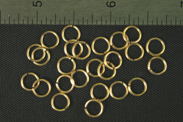 24pc RAW BRASS 6.35mm SIZE JUMP RINGS JR3-32-24