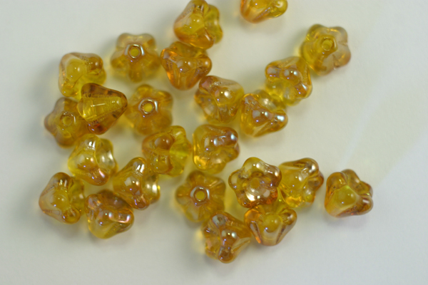 1 STRAND (50pc) 4X6mm FREESIA CELSIAN CZECH GLASS BELL FLOWER BEADS