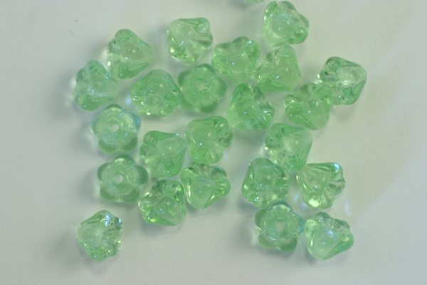 1 STRAND (50pc) 4X6mm PERIDOT GREEN CZECH GLASS BELL FLOWER BEADS
