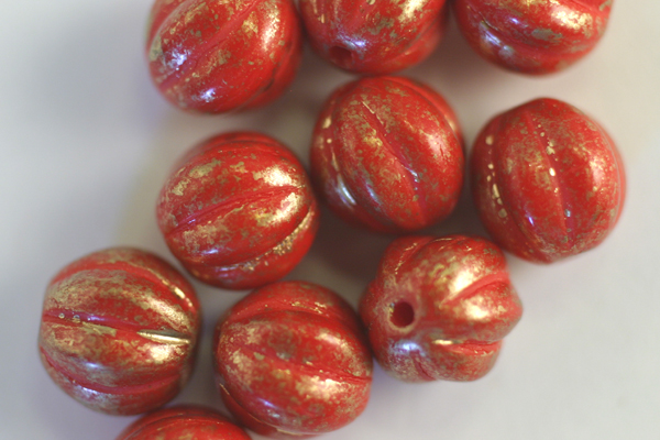 1 STRAND - (25pc) 8mm OPAQUE RED MARBLED GOLD CZECH GLASS MELON ROUNDS