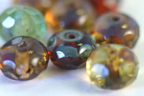 10pc 9x6mm FACETED GEMSTONE STYLE DONUT PICASSO MULTI COLOR CZECH GLASS