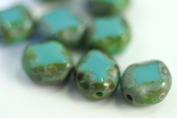 1 STRAND (24pc) 9x8mm POLISHED DIAMONDS TURQUOISE PICASSO CZECH GLASS BEADS