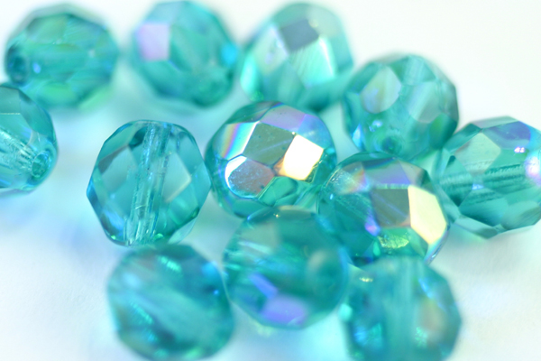 1 STRAND - (25pcs) 8mm AURORA BOREALIS TEAL FIREPOLISH FACETED CZECH GLASS ROUND BEAD CZ100-1ST
