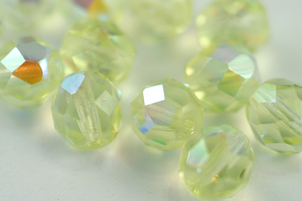 1 STRAND - (25pcs) 8mm AURORA BOREALIS JONQUIL FIREPOLISH FACETED CZECH GLASS ROUND BEAD CZ102-1ST