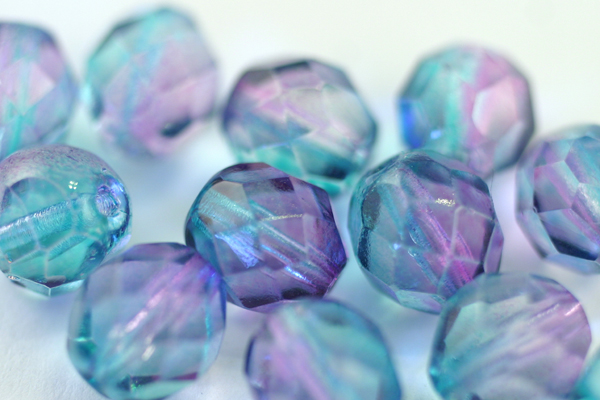 12pcs 8mm COATED PINK BLUE FIREPOLISH FACETED CZECH GLASS ROUND BEAD CZ105-12