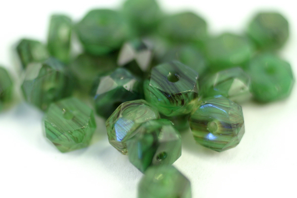 24pc 6x3mm MILKY GREEN JET FACETED FIREPOLISH HURRICANE CZECH GLASS RONDELLE BEADS CZ107-24