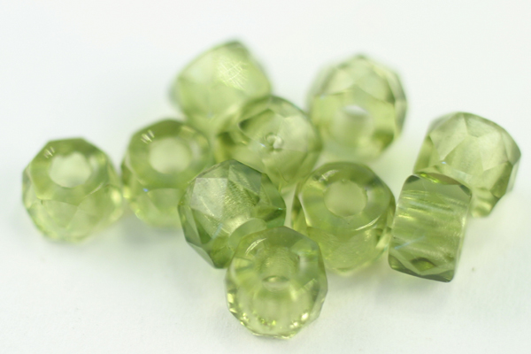 1 STRAND (25pc) 6x4mm FACETED OLIVINE CZECH GLASS CROW BEADS CZ110-1ST