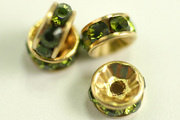 4pc GORGEOUS SPARKLY No 5820 6mm OLIVINE SWAROVSKI CRYSTAL RONDELLE BEADS