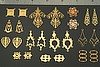 24pc VINTAGE STYLE SOLID RAW BRASS FINDINGS SAMPLER LOT H