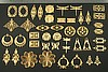44pc VINTAGE STYLE RAW BRASS FINDINGS SAMPLER LOT